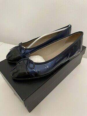 £150 • Buy Chanel Ballerinas Size 36.5 Blue Patent Original Box And Dustbag