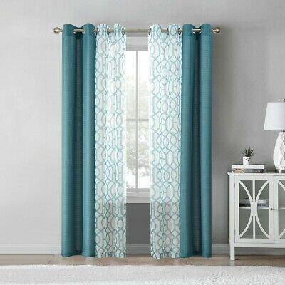 $14.99 • Buy Mainstays Kingswood 4 Piece Curtain Set, Teal *new