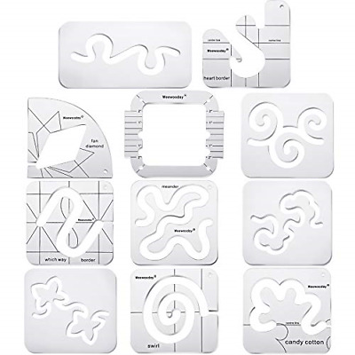 $59.22 • Buy 11 Pieces Free-Motion Quilting Template Set Sewing Machine Domestic Templates