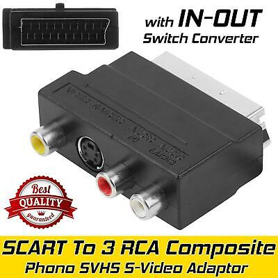 £2.39 • Buy SCART To 3 RCA Composite Phono SVHS S-Video Adapter With In Out Switch Converter