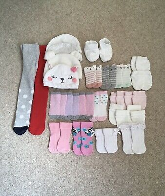 £2 • Buy Baby Socks, Tights, Hats & Mitts Bundle 0-6 Months (24 Items)