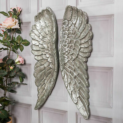 £9.50 • Buy Large Silver Angel Wings Wall Mounted Decorative Wall Hanging Art Home