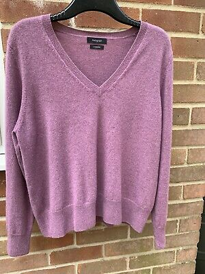 """£10 • Buy Pure Cashmere """"Lilac"""" Long Sleeved Jumper By M&S Autograph Size 16"""