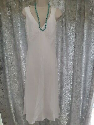 £5.50 • Buy White Cotton/linen Summer Dress By Warehouse  Size 12
