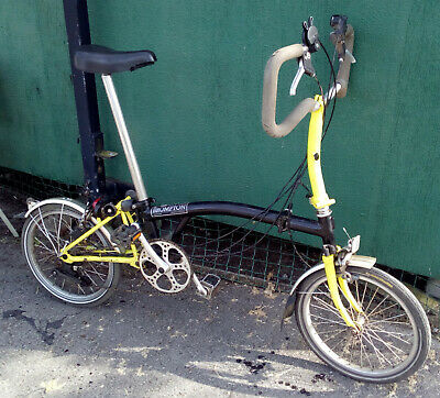View Details Brompton Folding Bike Six Speed. P6L Model. Used. Black And Yellow Frame. • 702.00£