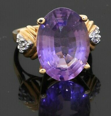 £42.48 • Buy 14K Yellow Gold 11.34CT Diamond & 18.5 X 13mm Amethyst Cocktail Ring Size 8