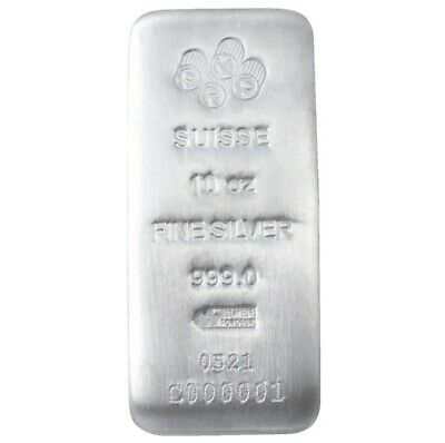 £216.15 • Buy 10 Oz PAMP Suisse Silver Cast Bar .999 Fine Silver -Assay Card - IN STOCK