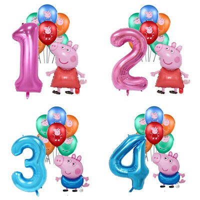 £8.99 • Buy Peppa Pig George Foil Pink Blue Number Balloons Children Birthday Party Latex