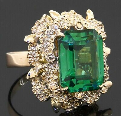 £264.08 • Buy Vintage Heavy 14K Gold 14 X 11mm Green Tourmaline Flower Cocktail Ring Size 5.25