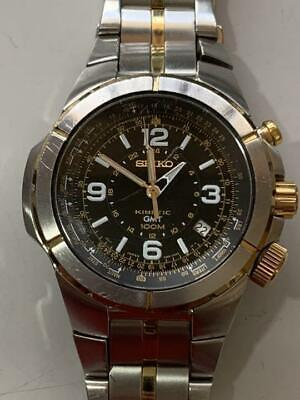 $222.69 • Buy Authentic Seiko Kinetic Gmt Automatic Wristwatch 5M65-0Ac0 Free Shipping No.7816