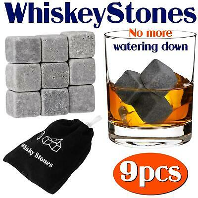 £3.45 • Buy New 9 Whisky Ice Stones Drinks Whiskey Scotch Cooler Cubes Rocks Granite & Pouch