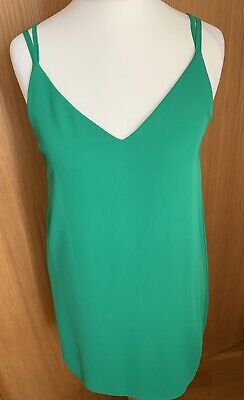 £7 • Buy Topshop Green Cami Dress / Strappy / Flowy Material/ Mini Dress - Size 8 Petite