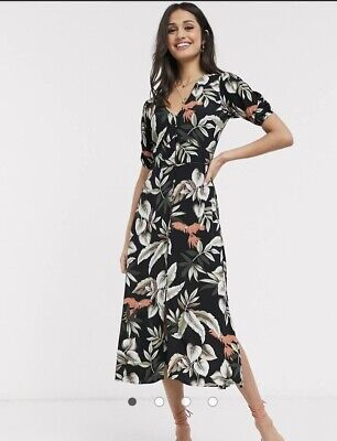 AU45 • Buy ASOS Oasis Balloon Sleeve Midi Dress In Tropical Print. Size 12. New With Tags