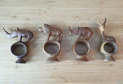 £16.99 • Buy Wooden Napkin Rings Holders X 4 African Animals Hand Carved Pre-owned, Good
