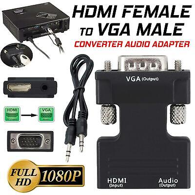 £3.45 • Buy 1080P HDMI Female To VGA Male With Audio Output Cable Converter Adapter UK