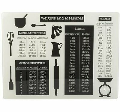 £12.25 • Buy CHOPPING BOARD GLASS Worktop Saver WEIGHTS & MEASURES Conversions 40x30cm