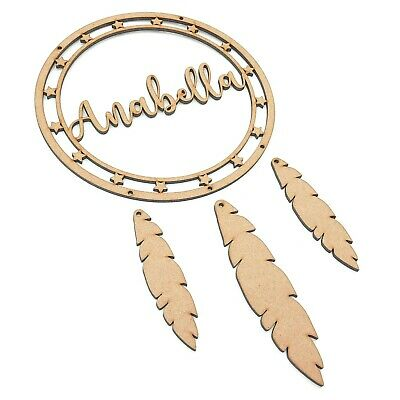 £8.45 • Buy Personalised Name Star Dream Catcher Hoop Feather Mdf Wooden Craft Shape Nursery