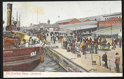 £3.50 • Buy Early Lancs Postcard: Landing Stage, Liverpool. Ships, Passengers Etc. PM 1915