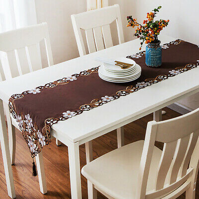 AU14.68 • Buy Dining Table Runner Embroidered Flower With Tassels Party Home Decor SL