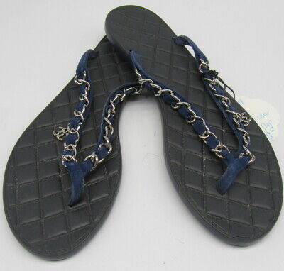 £301.69 • Buy CHANEL Blue Navy And Silver Cc Chain Flip Flop Sandals Sz 39