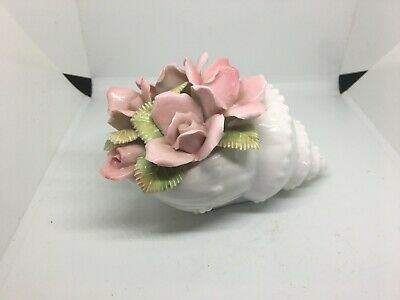 £5 • Buy Vintage Large Porcelain Conch Shell With Flower Ornament