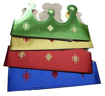£4.99 • Buy Pack 12 Cardboard Crown Shape Party Hats Four Colours
