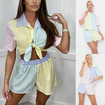 £27.95 • Buy Ladies Women's Striped Shorts Shirt Two Piece Party Fashion Co-Ord Set New UK