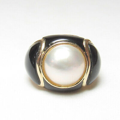 $107.50 • Buy Estate 14K Yellow Gold 11.0 Mm Round White Mabe Pearl And Black Onxy Ring
