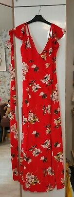 £19.80 • Buy Lipsy Red Floral Cold Shoulder Maxi Dress Size 14 BNWT