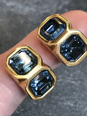 £3.20 • Buy Vintage Jewelley Signed Sapphire Crystal Earrings S.a.l Swarovski Clip On
