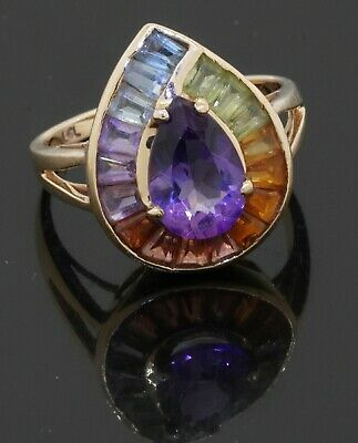 £47.44 • Buy 14K Yellow Gold 3.0CT Rainbow Gemstone Cluster Cocktail Ring Size 5