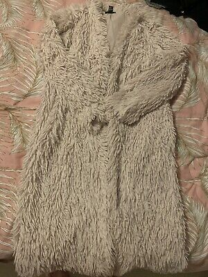 £3 • Buy Forever21 Size L 14/16 Cream Shaggy Coat