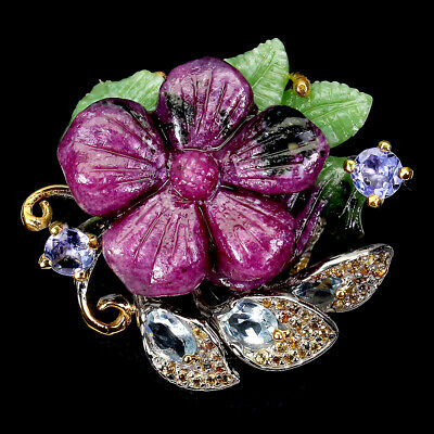 £14.52 • Buy AAA Hand Flower Carving Natural Red Ruby Zoisite Sapphire 925 Silver Ring Sz 10