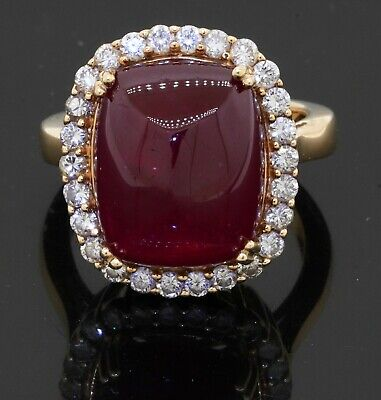 £640.73 • Buy Heavy 18K Yellow Gold VS 17.80CT Diamond & Cabochon Ruby Cocktail Ring Size 7