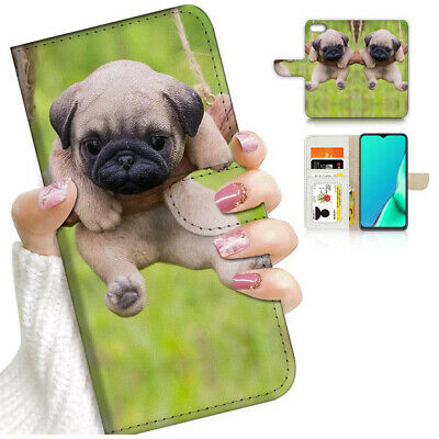 AU12.99 • Buy ( For Oppo A57 ) Wallet Flip Case Cover AJ24380 Puppy Dog Pug