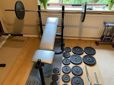 £475 • Buy York Bodybuilding/Weight Lifting Bench, Built In Rack & 127kg Plates + Bars