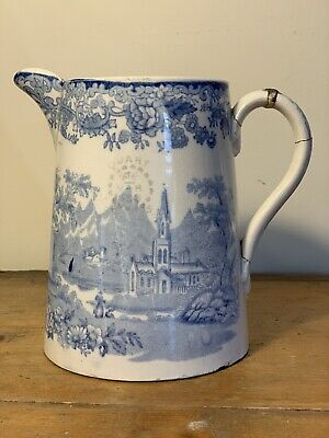 £9.99 • Buy Antique English 19th Century Victorian Blue And White Transfer Pottery Quart Jug