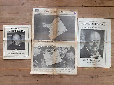 £16.99 • Buy Vintage Winston Churchill Funeral Coverage Newspapers, 1965 Daily Mail Telegraph