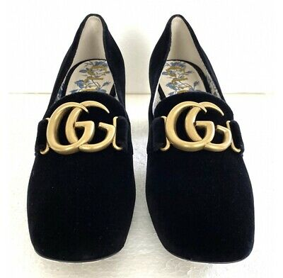 AU736.10 • Buy Gucci Malaga Velvet Heels Loafers Shoes Size 36.5