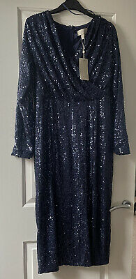 £10 • Buy Coast Fitted Navy Sequin Midi Dress With Wrap Front And Slit Thigh. Size 16