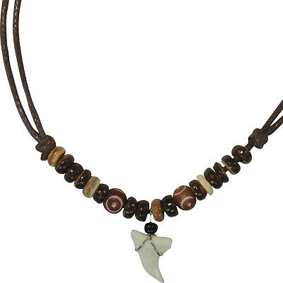 £3.49 • Buy Shark Tooth Pendant Brown Cord Chain Wooden Beads Surfer Necklace Mens Jewellery
