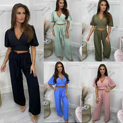 £17.99 • Buy Womens Two Piece Tie Back Top And Trousers Ladies Summer Fashion Loungewear Set