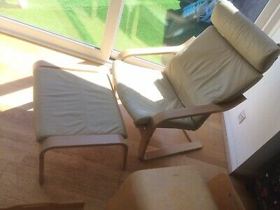 £45 • Buy Ikea Poang Lounge Arm Chair And Stool In Cream Leather Scandinavian