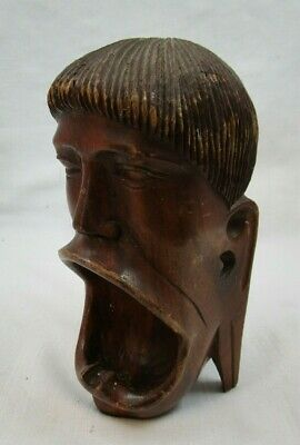 £5 • Buy Carved African Wooden Head, Mouth Forms Coin Or Trinket Holder