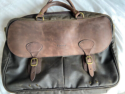 £75 • Buy Barbour Olive Waxed Leather Satchel Briefcase Bag RRP £125
