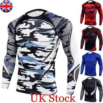 £4.49 • Buy Mens Compression Armour Long Sleeve Base Layer Top Thermal Sports Gym Slim Shirt