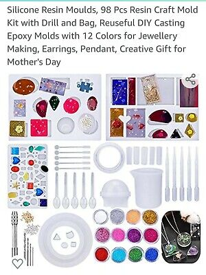 £6.50 • Buy 98 Piece Resin Casting Silicone Mold Kit Jewelry Making Pendant Craft DIY
