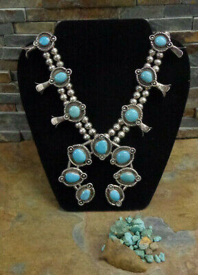 $ CDN1700.37 • Buy GORGEOUS!! 175g NAVAJO STERLING BLUE TURQUOISE SQUASH BLOSSOM NECKLACE OLD PAWN