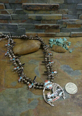 $ CDN1700.37 • Buy Gorgeous Old Zuni Roadrunner Sterling Turquoise Coral Squash Blossom Necklace