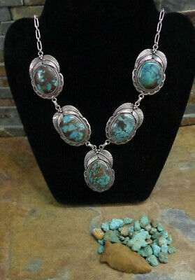 $ CDN1208.48 • Buy 113g OMG!! NAVAJO STERLING 5 BLUE GEM TURQUOISE SQUASH BLOSSOM NECKLACE OLD PAWN